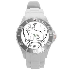 Seal of Indian State of Manipur  Round Plastic Sport Watch (L)