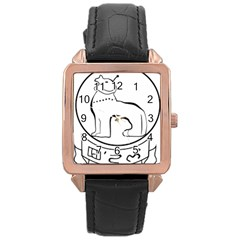 Seal of Indian State of Manipur  Rose Gold Leather Watch