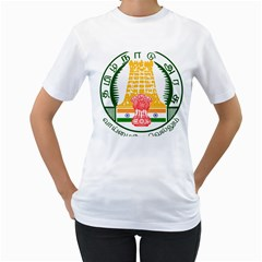 Seal of Indian State of Tamil Nadu  Women s T-Shirt (White) (Two Sided)