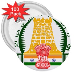 Seal of Indian State of Tamil Nadu  3  Buttons (100 pack)