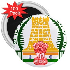 Seal of Indian State of Tamil Nadu  3  Magnets (100 pack)