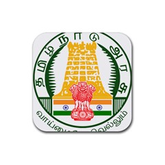 Seal of Indian State of Tamil Nadu  Rubber Coaster (Square)