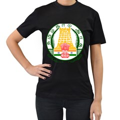 Seal of Indian State of Tamil Nadu  Women s T-Shirt (Black) (Two Sided)