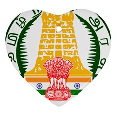 Seal of Indian State of Tamil Nadu  Heart Ornament (Two Sides)