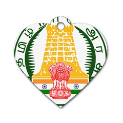 Seal of Indian State of Tamil Nadu  Dog Tag Heart (Two Sides)