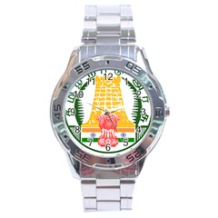 Seal of Indian State of Tamil Nadu  Stainless Steel Analogue Watch