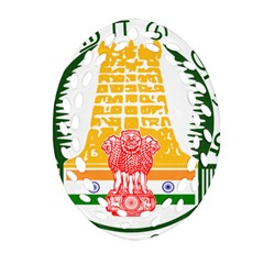 Seal of Indian State of Tamil Nadu  Oval Filigree Ornament (Two Sides)
