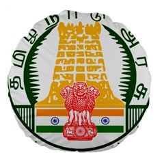 Seal of Indian State of Tamil Nadu  Large 18  Premium Round Cushions