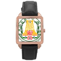 Seal of Indian State of Tamil Nadu  Rose Gold Leather Watch