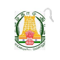 Seal of Indian State of Tamil Nadu  Drawstring Pouches (Medium)