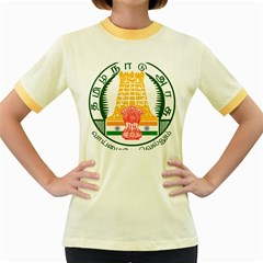 Seal of Indian State of Tamil Nadu  Women s Fitted Ringer T-Shirts