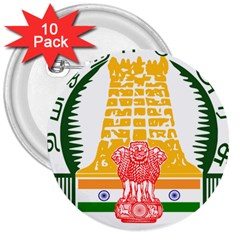 Seal of Indian State of Tamil Nadu  3  Buttons (10 pack)