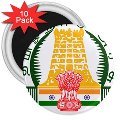 Seal of Indian State of Tamil Nadu  3  Magnets (10 pack)