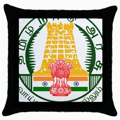Seal of Indian State of Tamil Nadu  Throw Pillow Case (Black)