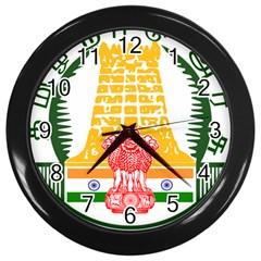 Seal of Indian State of Tamil Nadu  Wall Clocks (Black)
