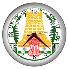 Seal of Indian State of Tamil Nadu  Wall Clocks (Silver)