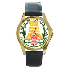 Seal of Indian State of Tamil Nadu  Round Gold Metal Watch