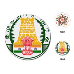 Seal of Indian State of Tamil Nadu  Playing Cards (Round)
