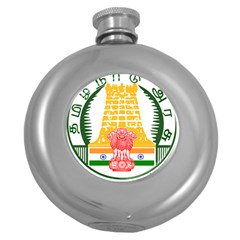 Seal of Indian State of Tamil Nadu  Round Hip Flask (5 oz)