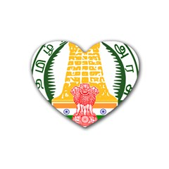 Seal of Indian State of Tamil Nadu  Rubber Coaster (Heart)