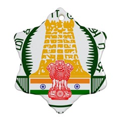 Seal of Indian State of Tamil Nadu  Snowflake Ornament (Two Sides)