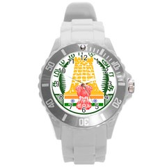 Seal of Indian State of Tamil Nadu  Round Plastic Sport Watch (L)