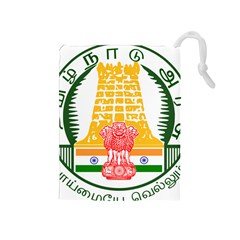 Seal of Indian State of Tamil Nadu  Drawstring Pouches (Medium)