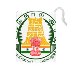 Seal of Indian State of Tamil Nadu  Drawstring Pouches (Large)
