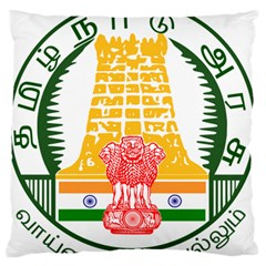 Seal of Indian State of Tamil Nadu  Large Flano Cushion Case (One Side)
