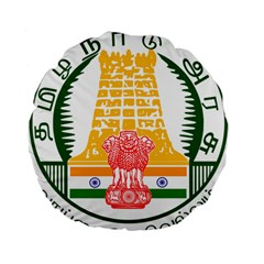 Seal of Indian State of Tamil Nadu  Standard 15  Premium Flano Round Cushions