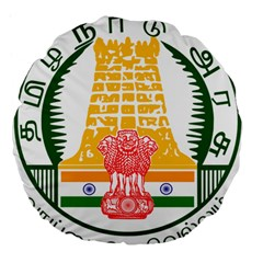 Seal of Indian State of Tamil Nadu  Large 18  Premium Flano Round Cushions