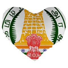 Seal of Indian State of Tamil Nadu  Large 19  Premium Flano Heart Shape Cushions