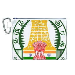 Seal of Indian State of Tamil Nadu  Canvas Cosmetic Bag (L)