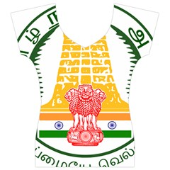 Seal of Indian State of Tamil Nadu  Women s V-Neck Cap Sleeve Top