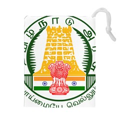 Seal of Indian State of Tamil Nadu  Drawstring Pouches (Extra Large)