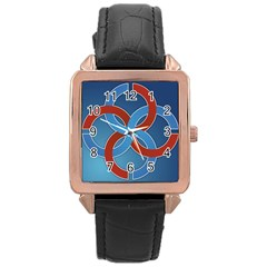 Svadebnik Symbol Slave Patterns Rose Gold Leather Watch