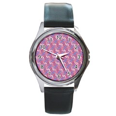Pattern Abstract Squiggles Gliftex Round Metal Watch