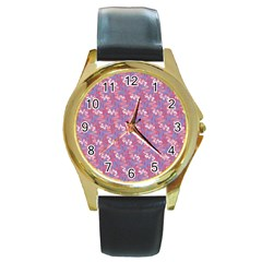 Pattern Abstract Squiggles Gliftex Round Gold Metal Watch