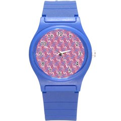 Pattern Abstract Squiggles Gliftex Round Plastic Sport Watch (s)