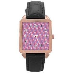 Pattern Abstract Squiggles Gliftex Rose Gold Leather Watch