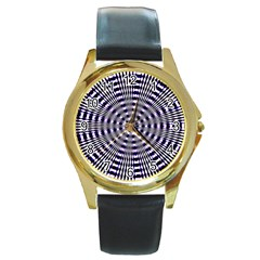 Pattern Stripes Background Round Gold Metal Watch
