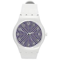 Pattern Stripes Background Round Plastic Sport Watch (m)
