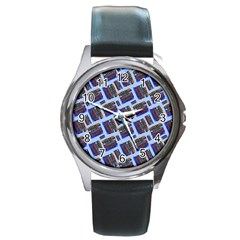 Abstract Pattern Seamless Artwork Round Metal Watch