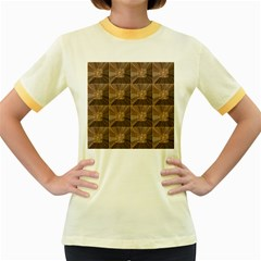 Collage Stone Wall Texture Women s Fitted Ringer T-Shirts