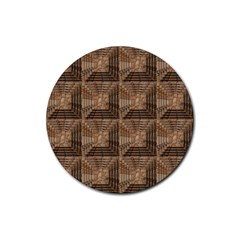 Collage Stone Wall Texture Rubber Round Coaster (4 Pack)