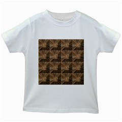 Collage Stone Wall Texture Kids White T Shirts