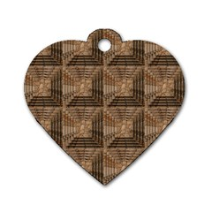 Collage Stone Wall Texture Dog Tag Heart (Two Sides)