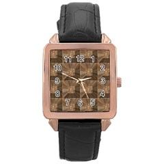 Collage Stone Wall Texture Rose Gold Leather Watch