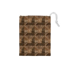 Collage Stone Wall Texture Drawstring Pouches (Small)