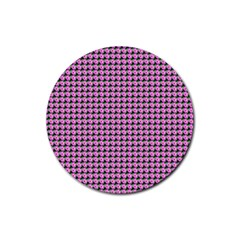 Pattern Grid Background Rubber Round Coaster (4 Pack)